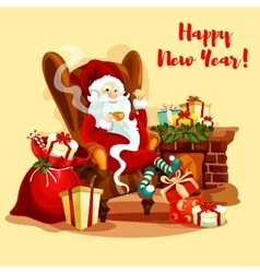 Santa with gifts sitting near fireplace vector image