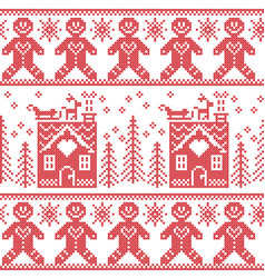 Scandinavian nordic christmas pattern with ginger vector image