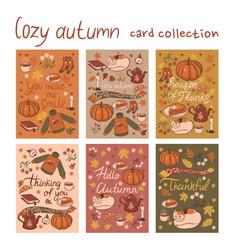 Set 6 postcards a cozy autumn graphics vector