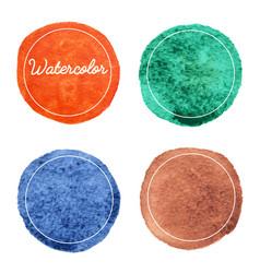 Set multicolor watercolor hand drawn circles vector