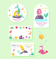 set of cards and tags with sea characters vector image