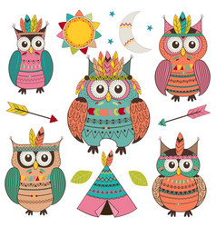 Set of isolated tribal owls vector