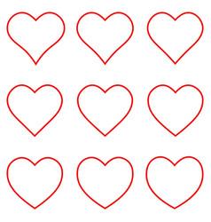 set red heart shape outline stroke icon vector image