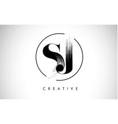 Sj brush stroke letter logo design black paint vector