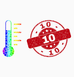 spectrum dot thermometer icon and grunge 10 vector image