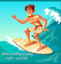 Summer surfing boy on wave vector