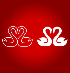 Swans in love line and glyph icon vector