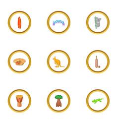 sydney zoo icons set cartoon style vector image