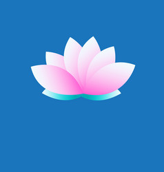 symbol pink lotus on blue background vector image