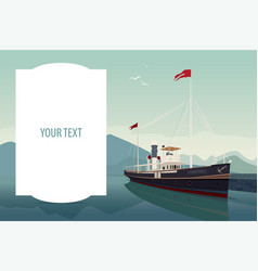 Template with large text space and retro ship vector