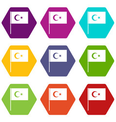 turkish flag icon set color hexahedron vector image