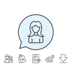 User line icon female profile sign vector