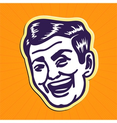 Vintage charming portrait of smiling retro man vector image