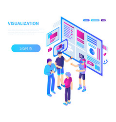 vr visualization concept background isometric vector image