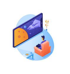 Watching science fiction isometric vector
