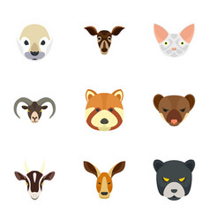 wild animal icon set flat style vector image