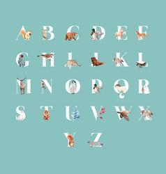 Winter animal alphabet design with mountain goat vector