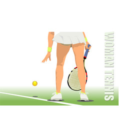 Woman tennis player colored vector