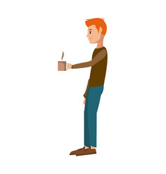 Young man holding coffee cup hot vector