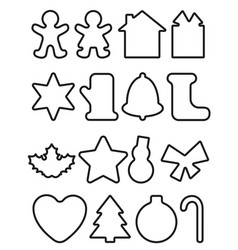 christmas objects line icons vector image