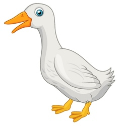 Cute white duck cartoon vector image vector image