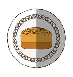 emblem hamburger bread icon vector image