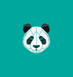 polygonal black and white abstract panda head vector image