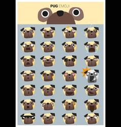 Pug emoji icons vector image vector image