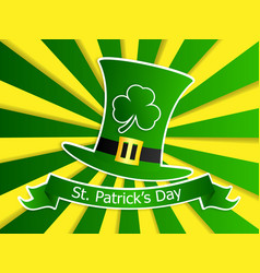 saint patricks day with green leprechaun hat and vector image