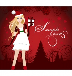 Santa dressed girl with present vector image vector image