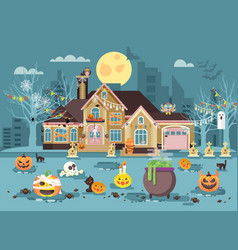 cartoon house with courtyard vector image