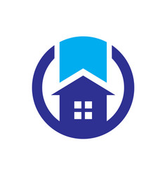 circle home sign logo vector image vector image