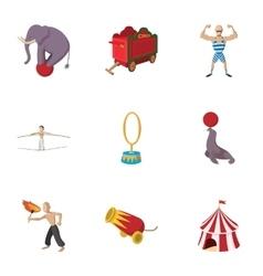 Circus icons set cartoon style vector image