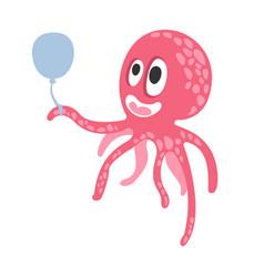 cute cartoon pink octopus character holding air vector image