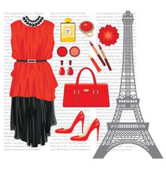 Fashion set with the Eiffel Tower vector image vector image