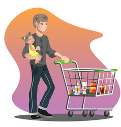father with daughter and shopping cart vector image