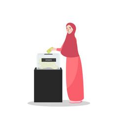 Girl put money into donation box islam muslim vector