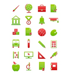 Green red school icons set vector image