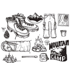 set of highly detailed hand drawn camping vector image vector image