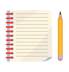 diary with spiral or page of copybook and pencil vector image