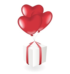 Gift box with heart balloons vector image vector image