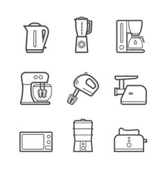Kitchen appliances line style icon set vector image vector image