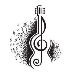 musical notes and guitar vector image vector image