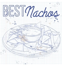 Nachos recipe on a notebook page vector image