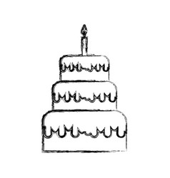 sketch draw birthday cake cartoon vector image