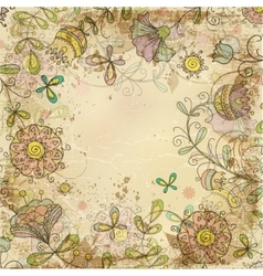 Vintage card on old paper with a flower pattern vector image vector image