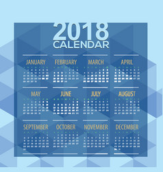 2018 blue geometric printable calendar vector image