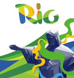 Abstract rio de janeiro with national colors lines vector image