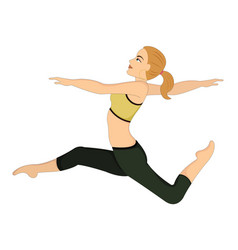 exercising woman doing dance jumps vector image vector image