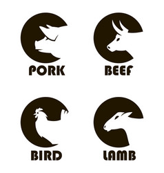 farm animals labels vector image